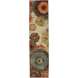 @Overstock - Caravan Medallion Multi Nylon Rug (2' x 8') - Contemporary and chic, the mix of floral medallions in varied jewel tones makes this rug a conversation piece. Crafted completely in the USA, this rug is made from durable stain resistant nylon.  http://www.overstock.com/Home-Garden/Caravan-Medallion-Multi-Nylon-Rug-2-x-8/8694277/product.html?CID=214117 $64.99