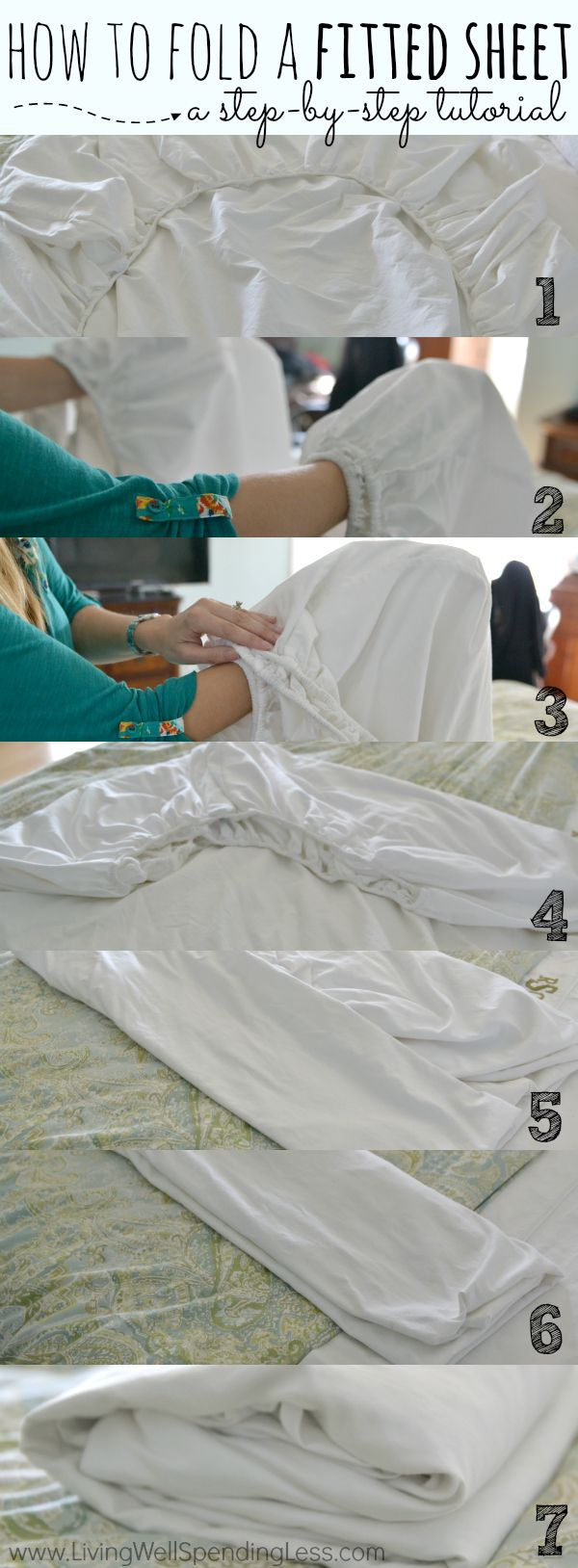Have you ever attempted to fold up your freshly washed fitted sheet only to give up in frustration and simply roll it up in a ball? Don't despair! While those corners might seem tricky, they really aren't as hard as they look. Here's a simple step-by-step tutorial for getting the job done: