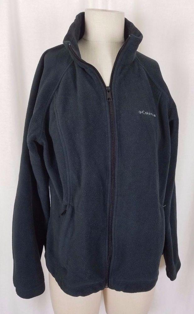 Columbia Omni-Heat Silver Lined Black Fleece Sweater Jacket Womens L Full Zip Up #Columbia #FleeceJacket #Outdoor