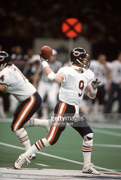 Jim McMahon of the Chicago Bears looks to pass against the New England Patriots during Super Bowl XX January 26 1986 at the Louisiana Superdome in...