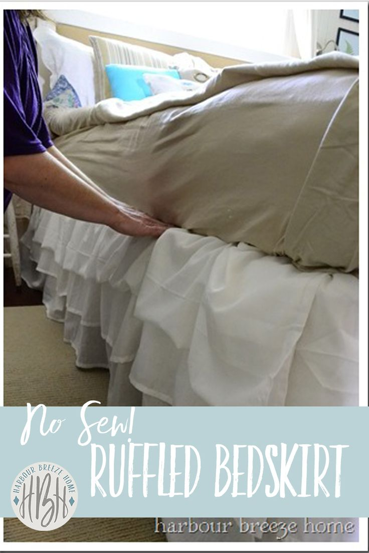 Quickly complete your room's makeover with this quick no sew ruffled bedskirt from 3 Ikea sheets!