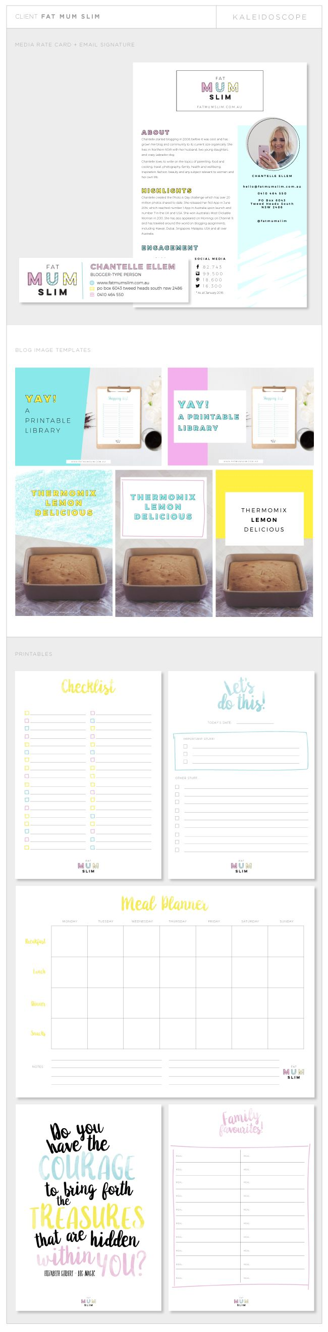 Fat Mum Slim Blog Graphic Design elements by Amanda Fuller of Kaleidoscope Design Studio