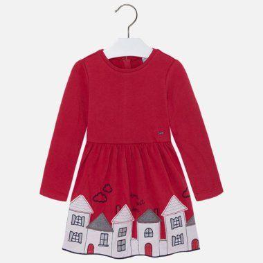Dievčenské šaty s dlhými rukávmi Mayoral - Red 4r