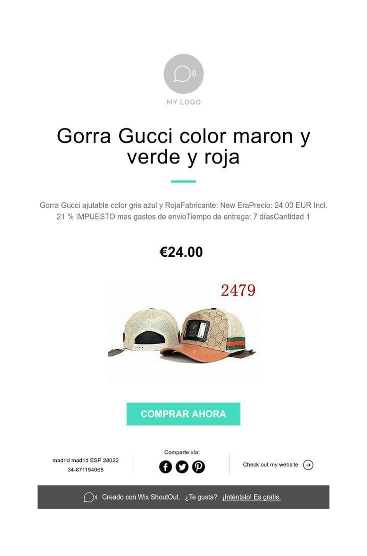 Gorra Gucci color maron y verde y roja