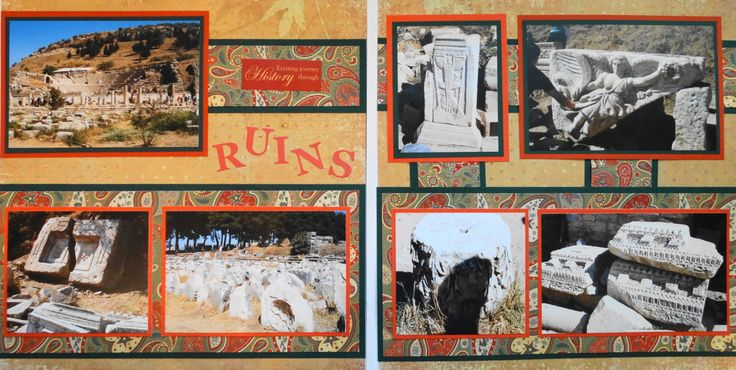 Scrapbook Page - Ephesus, Turkey - The Ruins - 2 page travel layout  from Travel Album 5
