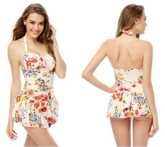 One Piece Floral Ruched Halter Push Up Slim Tummy Control