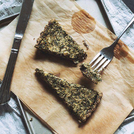 Vegan spanakopita in a gluten-free tart! (The secret is in the vegan cheese!)