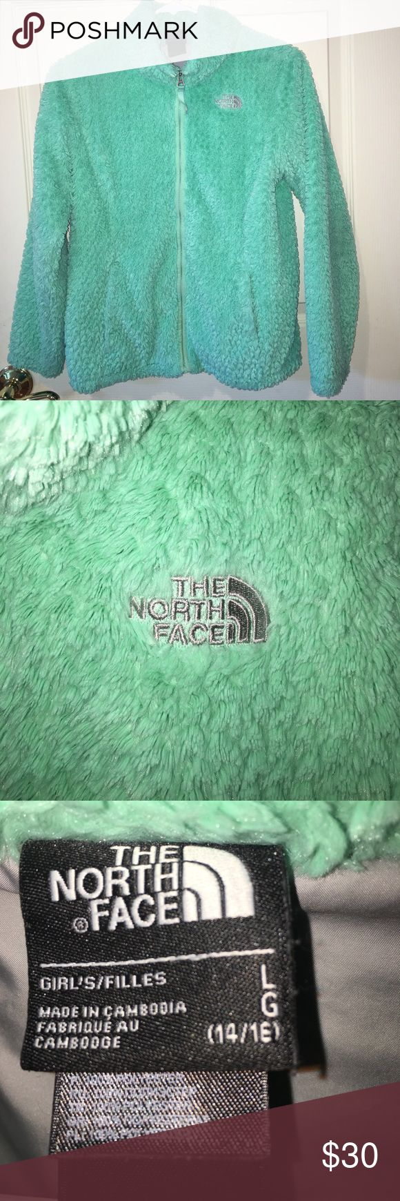 Beautiful Girls North Face Jacket Excellent condition. Mint green. Nice and warm!! Girls size Large 14/16 The North Face Jackets & Coats