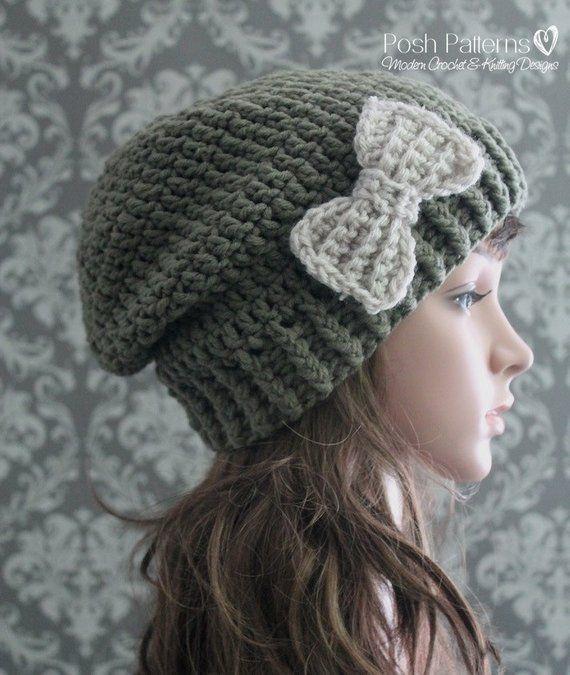 Crochet PATTERN - Womens Slouchy Hat Pattern - Crochet Hat Pattern - Ladies  Crochet Patterns - Toddl f25d7d0027