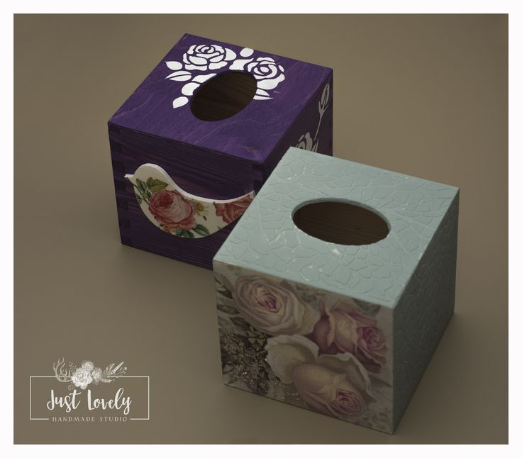 Tissue box, purple box, box with roses