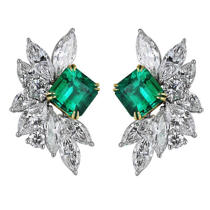 3.2 Carat Emerald and Diamond Cluster Earrings | See more rare vintage More Earrings at https://www.1stdibs.com/jewelry/earrings/more-earrings