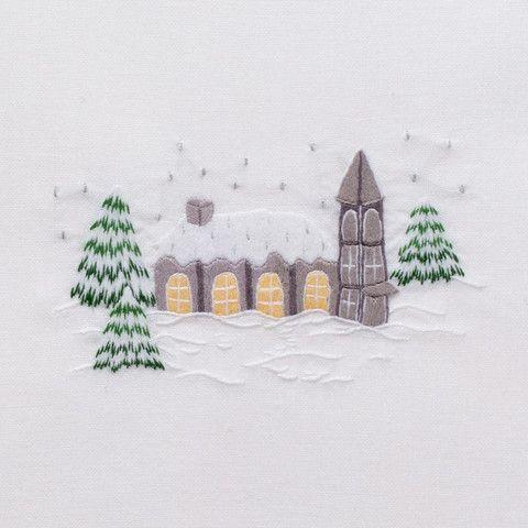 Snowy Chapel<br>Towel - White Cotton