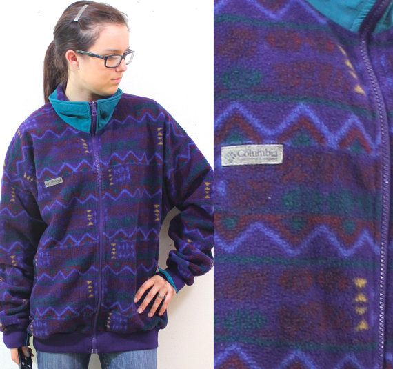 Vintage Retro Columbia Aztec Boho Navajo Patterned Fleece ...