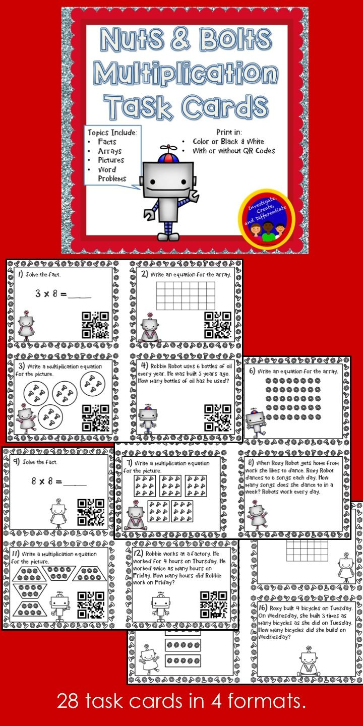28 multiplication task cards - with and without QR codes The questions include facts, arrays, multiplication pictures and word problems. $
