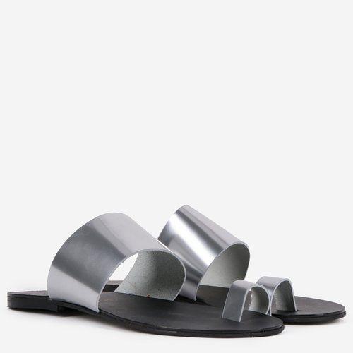 Sandale gri din piele naturala Inna