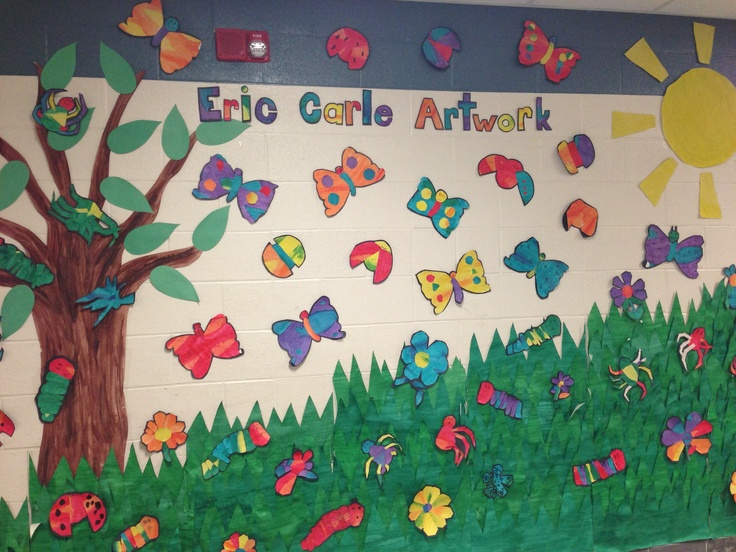 Eric carle inspired collage mural after reading the for Eric carle mural