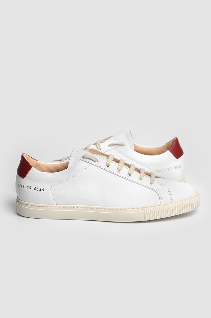 COMMON PROJECTS 1845 Original Achilles Retro Low White and Red Sneakers