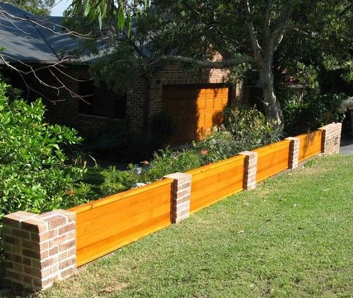 Brick and timber feature fencing built on the north shore for Koi pond builders sydney