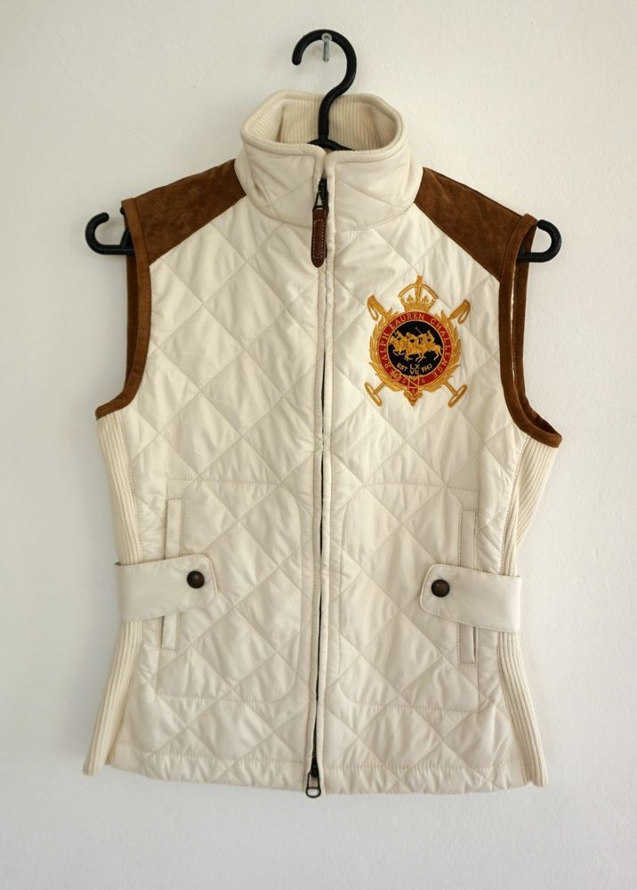 Women s Polo Ralph Lauren Sport Quilted Vest White   Brown Size  XS   fashion  clothing  shoes  accessories  womensclothing  coatsjacketsvests  (ebay link) c39ce67969e6a