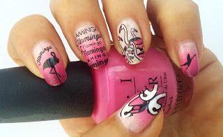 framboise nail art stamping: stamping flamants roses mo you
