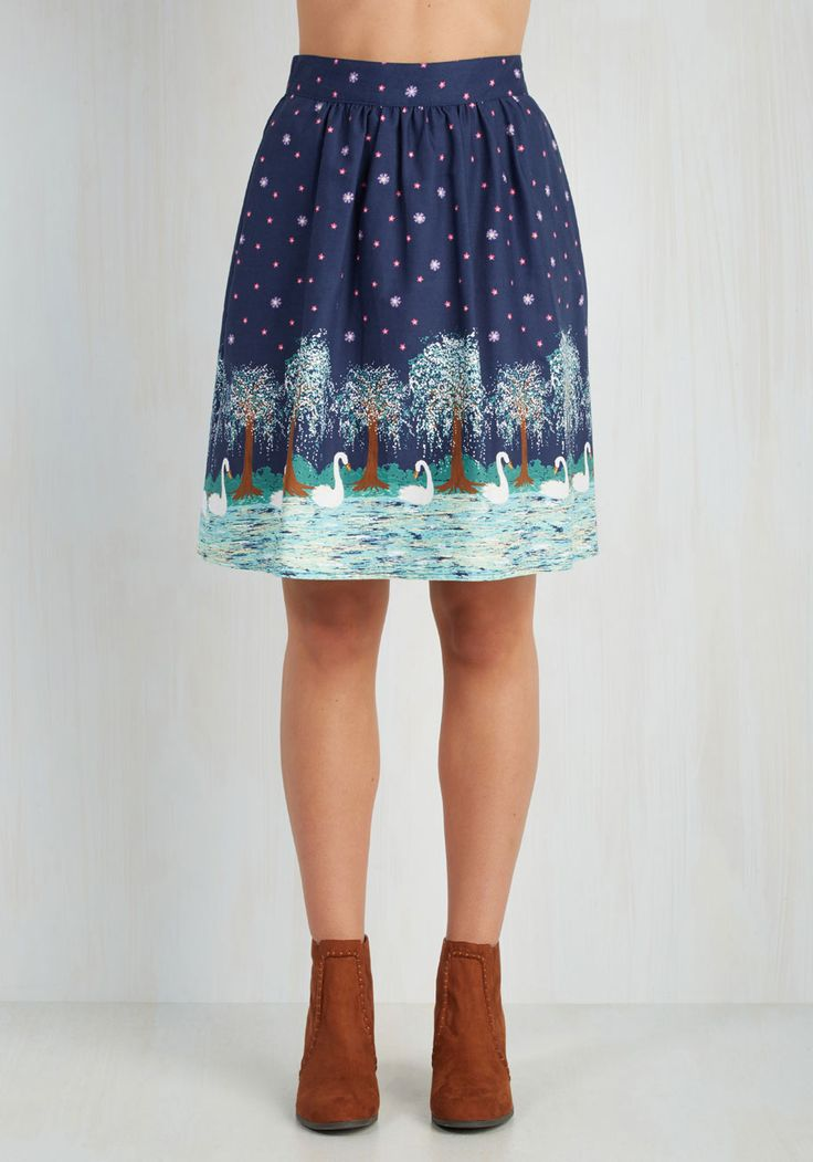 Swan Fell Swoop Skirt. Your irrevocable love for this cotton skirt happened so quickly.  #modcloth