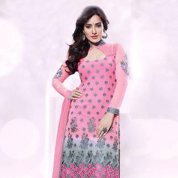 Pink and Grey Faux Georgette Churidar Kameez