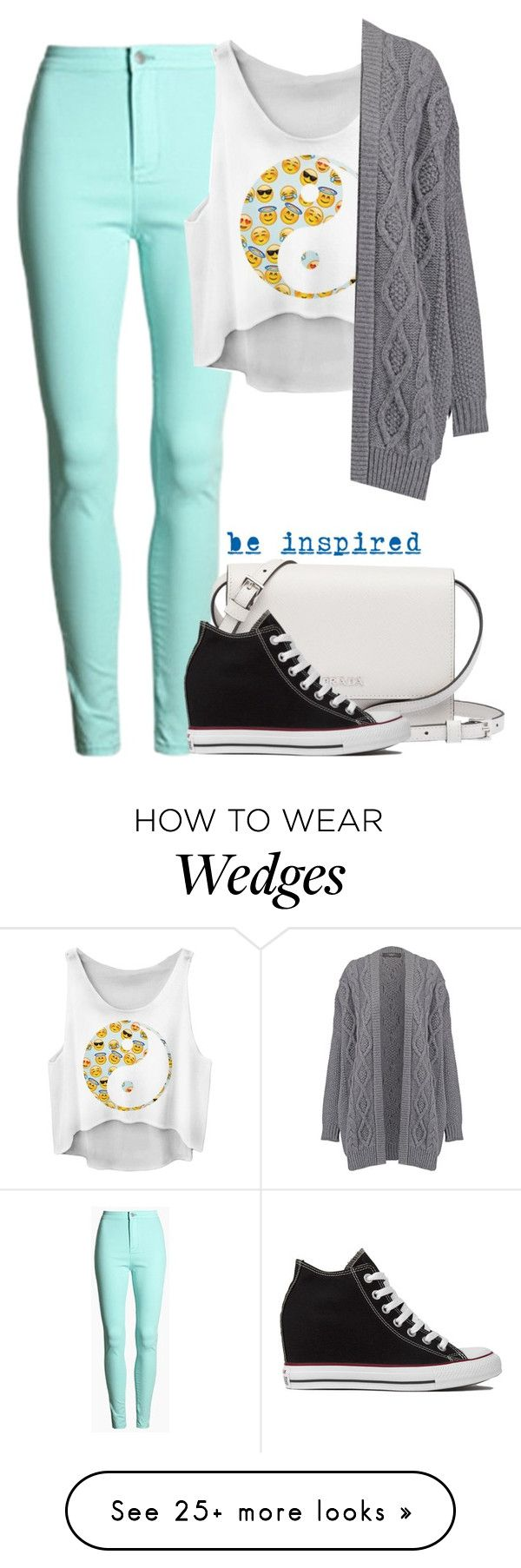 """Yin And Yang Emoji"" by cloudybooks on Polyvore featuring Prada, Converse and Underscore"