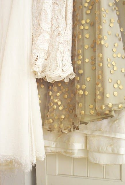 Texture: Pretty Dresses, Lace, Gold Polka Dots, Colors, Bridesmaid, Fabrics, Closet, Gold Dots, Cream