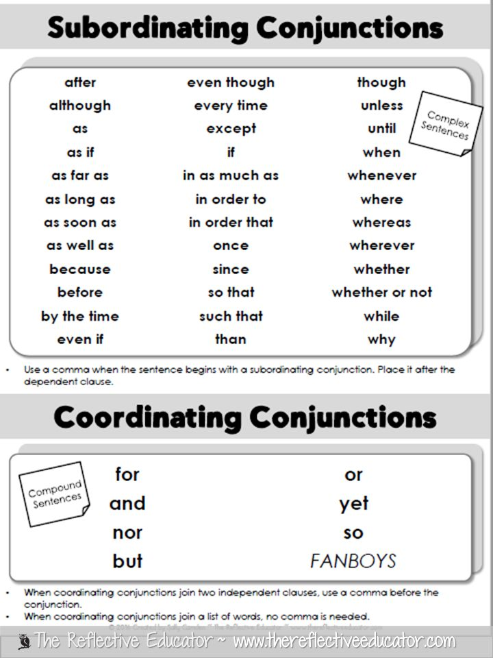 The Reflective Educator: Writing Sentences with Conjunctions