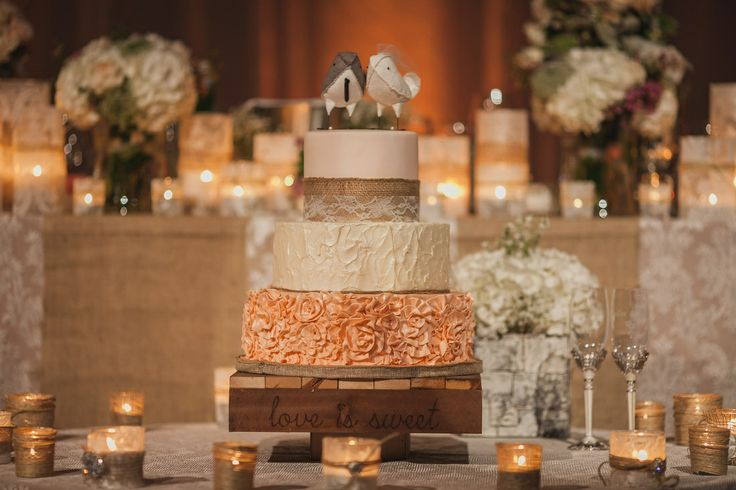 Vintage, Rustic and Sweet ~ Custom Wedding Cake! #rustic #wedding #rusticweddingcake #vintageweddingcake #weddingcake #ruffles #vintage #birds #birdcaketopper #lace #burlap #sweetsisterchicsister