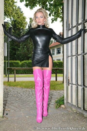 Girls in pink fetish boots