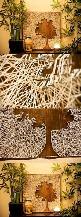 DIY Thread and Nails Panel DIY Projects...I wouldnt do a tree shape, but this is a cool idea