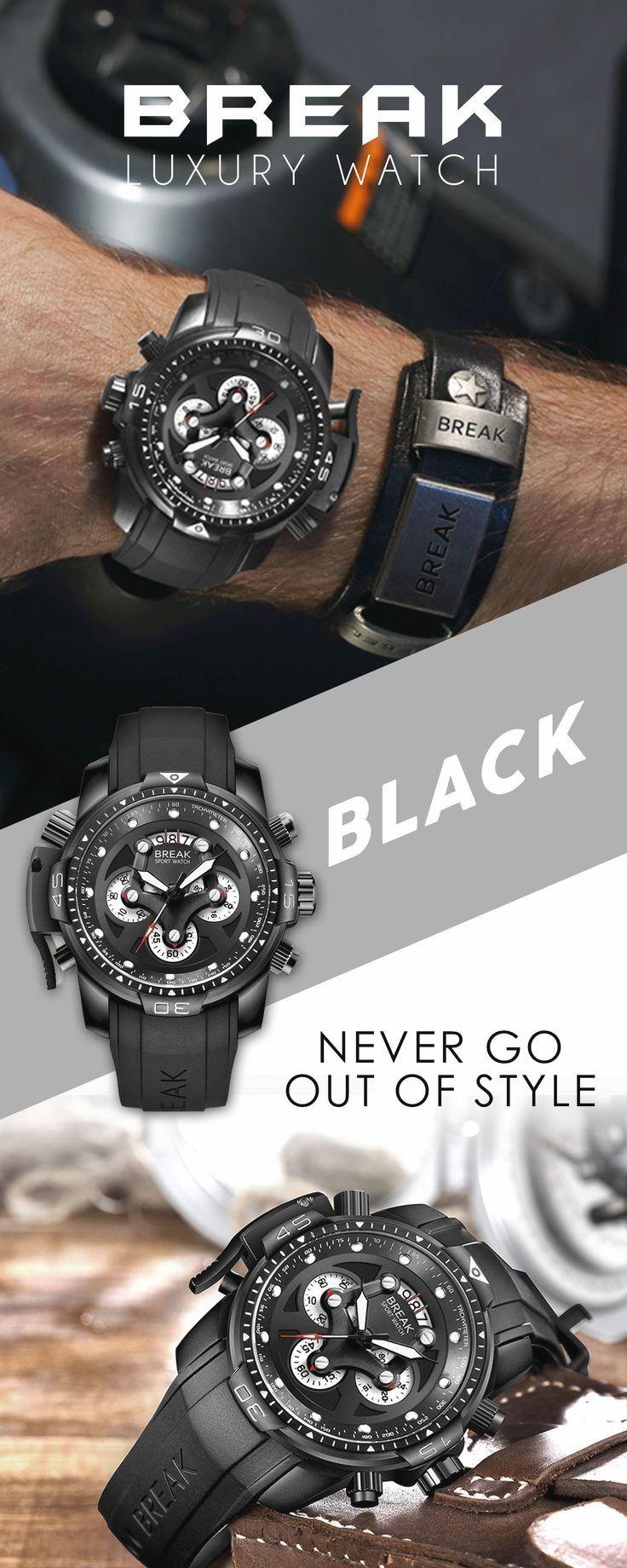 90fb4e12416 BREAK Luxury Unique Fashion Army Wrist watches for men - men s black sport waterproof  watch timepiece chronograph - men s top brand designer fashion style ...