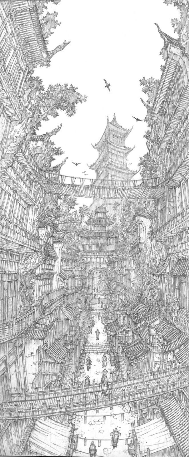 Architecture in Super Detailed Fantasy Drawings. See more art and information about Jung Min Seub, Press the Image.