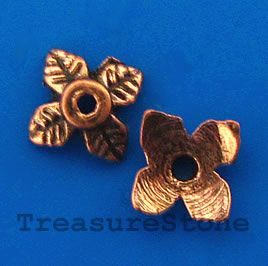 Bead cap, antiqued copper finished, 8x2mm. #TreasureStone Beads Edmonton. www.TreasureStoneBeads.com
