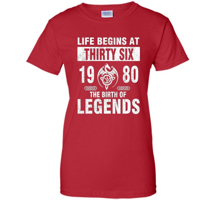 36th Birthday Gifts - Made 1980 The Birth Of Legends Tshirt
