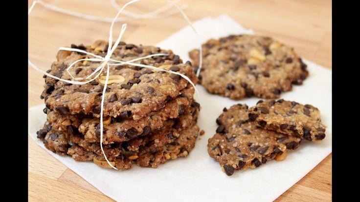 AMERICAN COOKIES con gocce di cioccolato e arachidi | senza uova e latto...