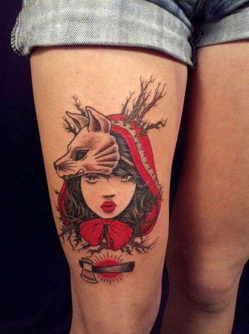 kırmızı başlıklı kız dövmesi