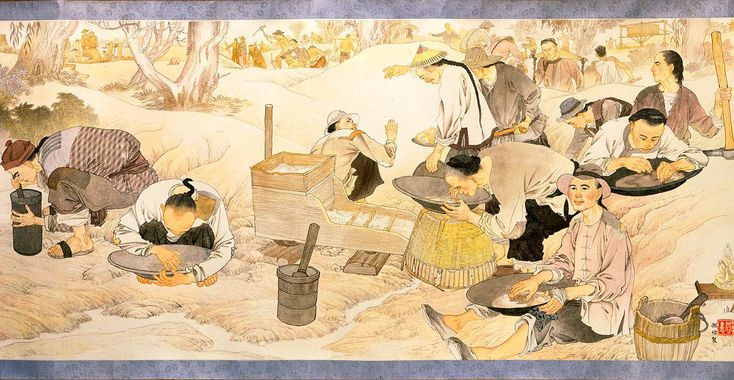 In this scene, Chinese and European diggers methodically search for gold using various devices and techniques