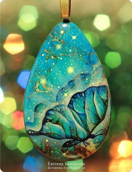 """Купить Кулон с росписью """"Туманность Бабочка"""" (лаковая миниатюра) - роспись на камне, роспись по камню"""