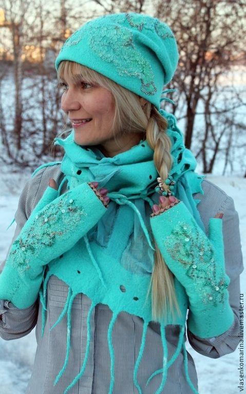 Купить Комплект валяный шапочка шарф митенки Предчувствие весны - бирюзовый…