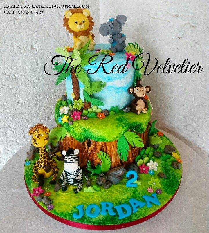 Zoo themed birthday cake!   Lion, elephant, zebra, giraffe, monkey