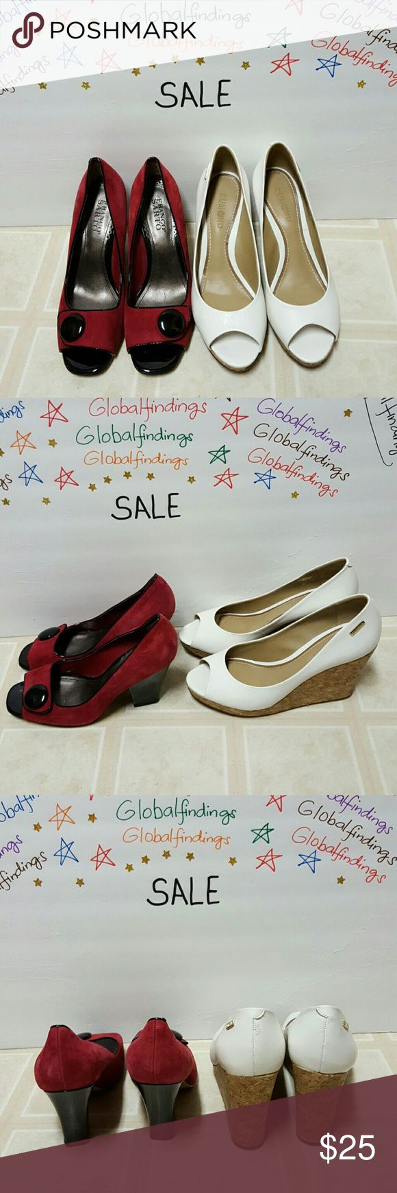 """Bundle of Two Shoes Franco Sarto &Dumond Size 7 Bundle of Two Shoes Size 7 , the red is Franco Sarto and the white is Domund Brazilian made shoes all in great condition slightly used.the Dumond has a tiny slight scuff at the back. The heel height of the white is 4"""" the red one heel height is 3.5"""". Franco Sarto & Dumond Shoes Heels"""