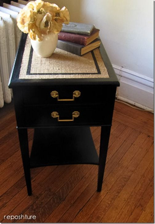 DIY side tables for my room with burlap accents