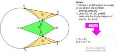 Geometry Problem 180. Circles Tangent Externally, Common External Tangents, Areas. School, Collge, Math Education.