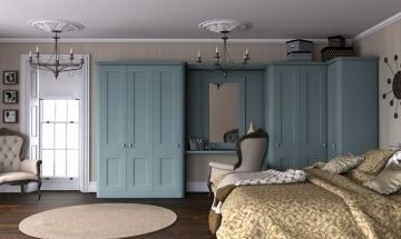 Paintable Tropez Blue Bedroom Doors - By BA Components. Traditional style bedroom wardrobe.