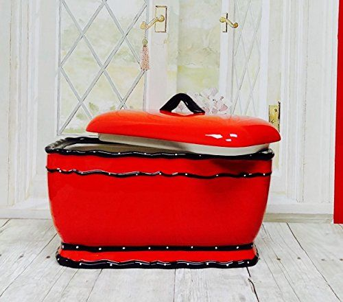 "Tuscany Hand Painted Red Ruffle Bread Box, 85275 by ACK Dotted, scalloped rims decorate glazed Ceramic in vibrant red color. Measures Appox. 9""H x 6-8/9""W x 13-1/5""L"