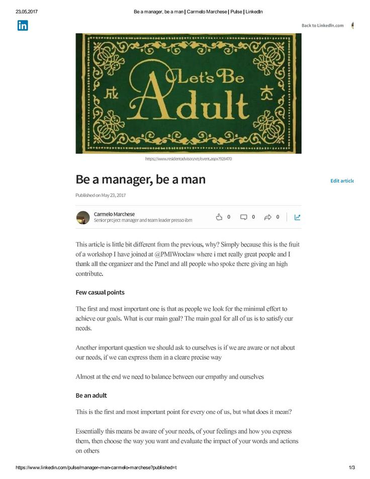 Be an adult be a manager