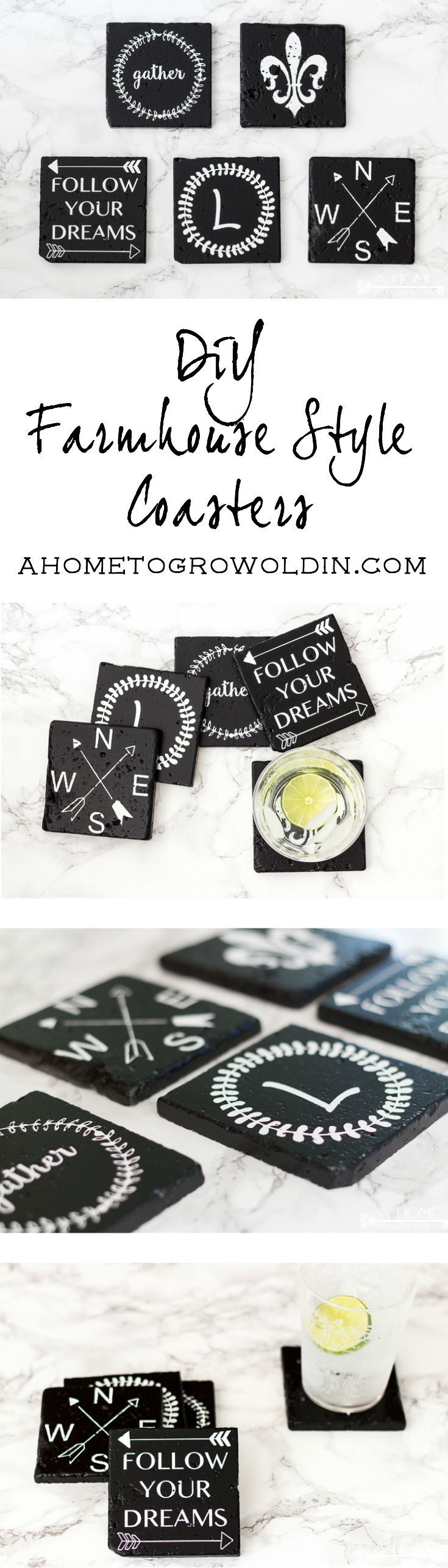 Check out these farmhouse style coasters!  It's such an easy DIY using inexpensive stone tile.  Includes 5 free Silhouette cut files!  Make sure to save it for later! via @ahome2growoldin