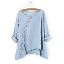 2015 nueva camisa de la mujer Slant oblicua Button Irregular más tamaño ruedan para arriba lavado de manga bolsillo Color sólido flojo blusa ocasional(China (Mainland))